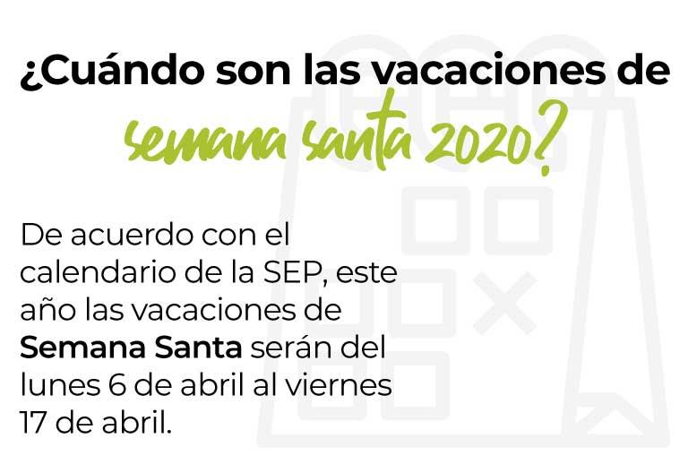 ¿Cuándo son las vacaciones de semana santa 2020? De acuerdo con el calendario de la SEP, este año las vacaciones de Semana Santa serán del lunes 6 de abril al viernes 17 de abril.