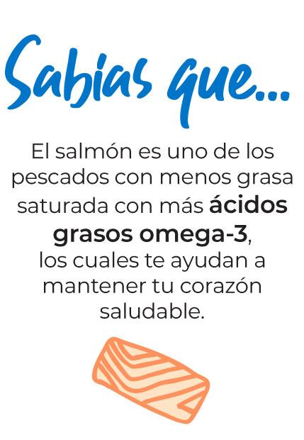 Sabías que… El salmón es uno de los pescados con menos grasa saturada con más ácidos grasos omega-3, los cuales te ayudan a mantener tu corazón saludable.