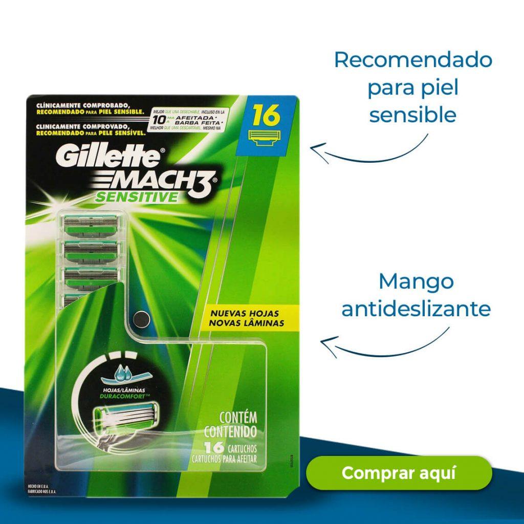 Gillette -Recomendado para piel sensible -Mango antideslizante