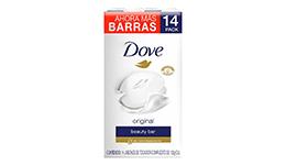 Jabón en barra, 14 piezas de 135 g. Dove.