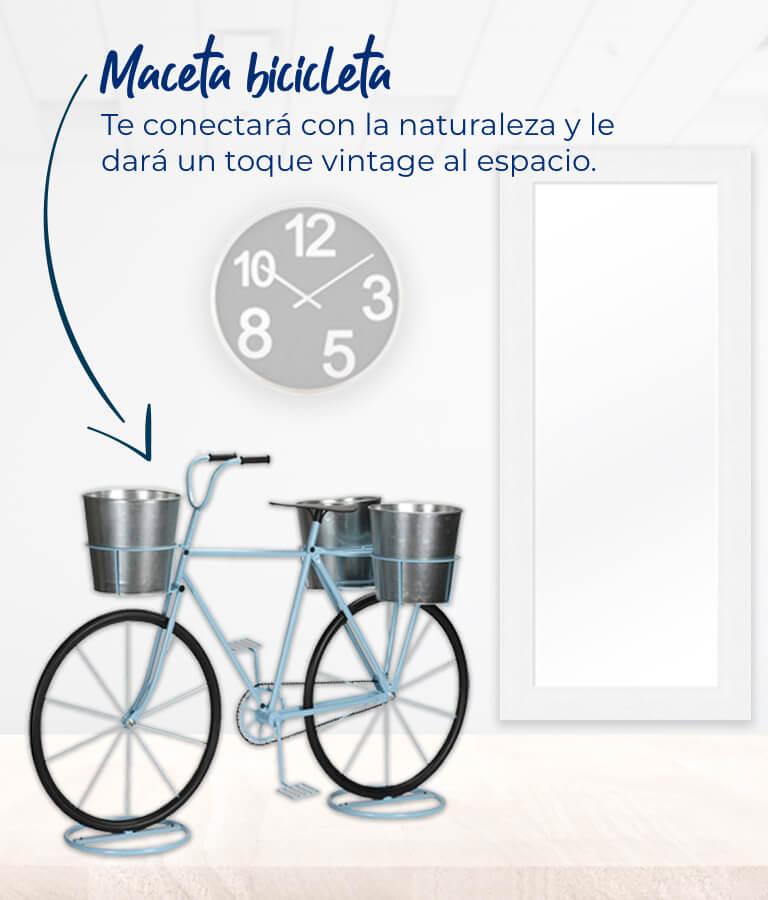Maceta bicicleta Te conectará con la naturaleza y le dará un toque vintage al espacio.