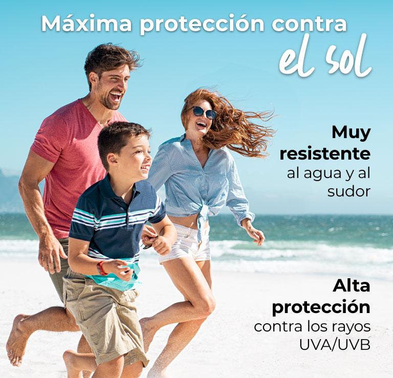 Máxima protección contra el sol Muy resistente al agua y al sudor Alta protección contra los rayos UVA/UVB