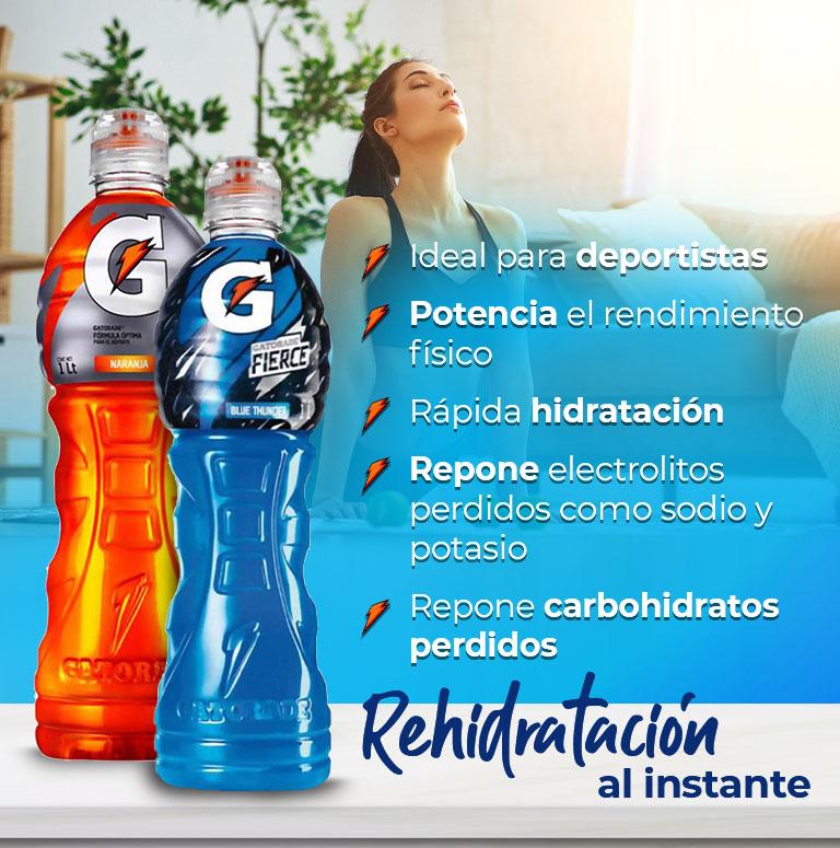 Rehidratación al instante  Ideal para deportistas Potencia el rendimiento físico Rápida hidratación Repone electrolitos perdidos como sodio y potasio  Repone carbohidratos perdidos