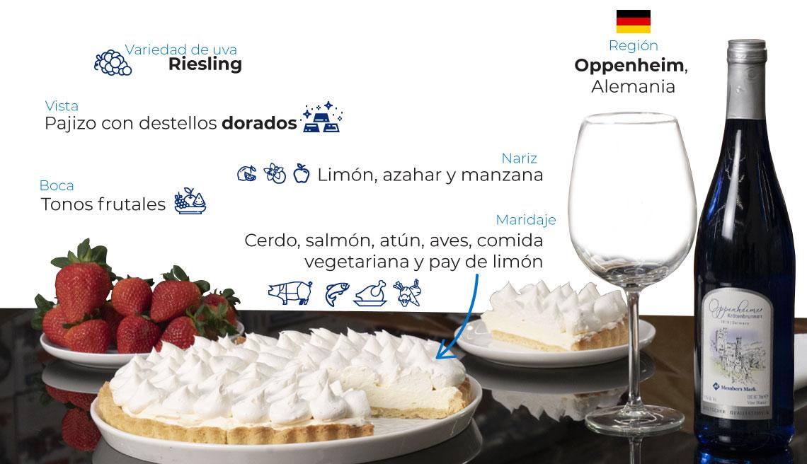 Variedad de uva: riesling Región: Oppenheim, Alemania Vista: pajizo con destellos dorados Nariz: limón, azahar y manzana Boca: tonos frutales Maridaje: cerdo, salmón, atún, aves, comida vegetariana y pay de limón