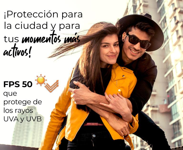 ¡Protección para la ciudad y para tus momentos mas activos! FPS 50 que protege de los rayos UVA y UVB
