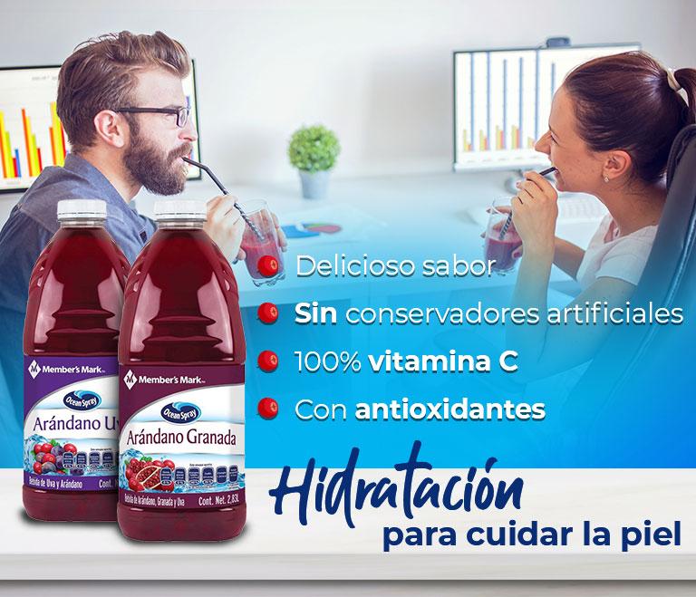 Hidratación para cuidar la piel  Delicioso sabor Sin conservadores artificiales 100% vitamina C Con antioxidantes