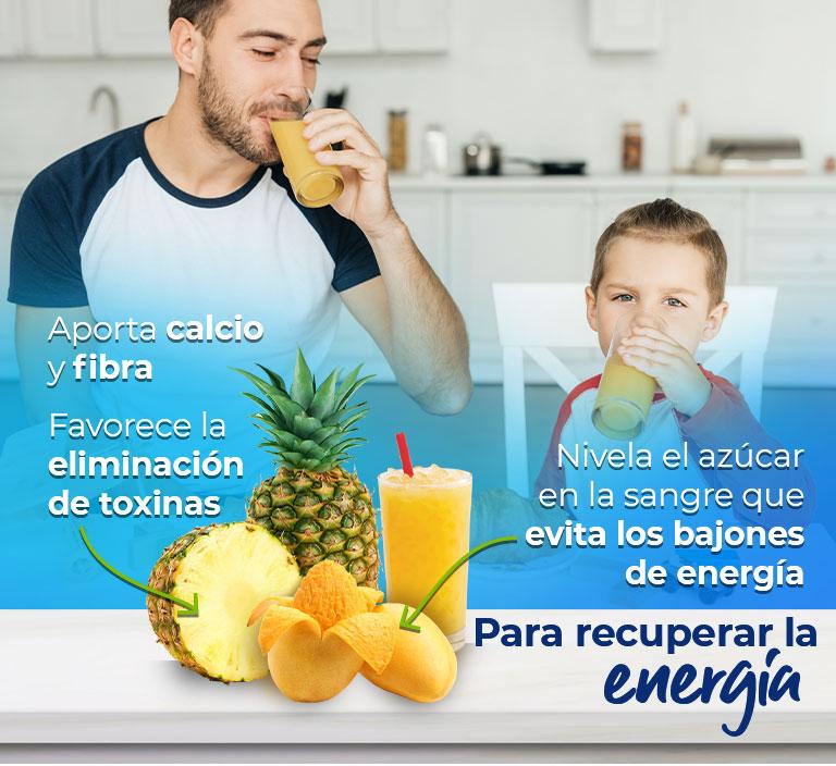 Para estar activo todo el día  Piña  Aporta calcio y fibra Favorece la eliminación de toxinas  Mango Nivela el azúcar en la sangre que evita los bajones de energía