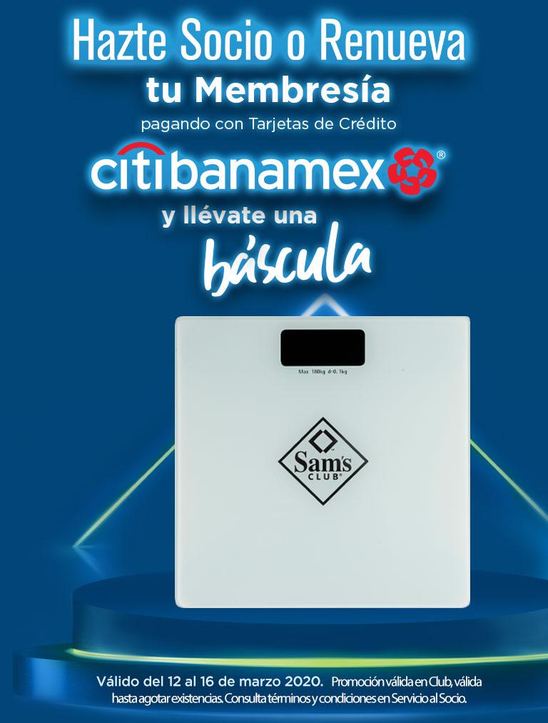 Hazte Socio o Renueva tu Membresía pagando con Tarjetas de Crédito Citibanamex y llévate una báscula.