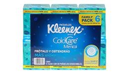 Pañuelos de mentol, 6 cajas con 60 pzs c/u. Kleenex.