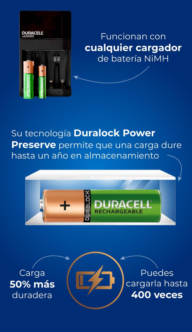 Funcionan con cualquier cargador de batería NiMH. Su tecnología Duralock Power Preserve permite que una carga dure hasta un año en almacenamiento. Carga 50% más duradera.  Puedes cargarla hasta 400 veces