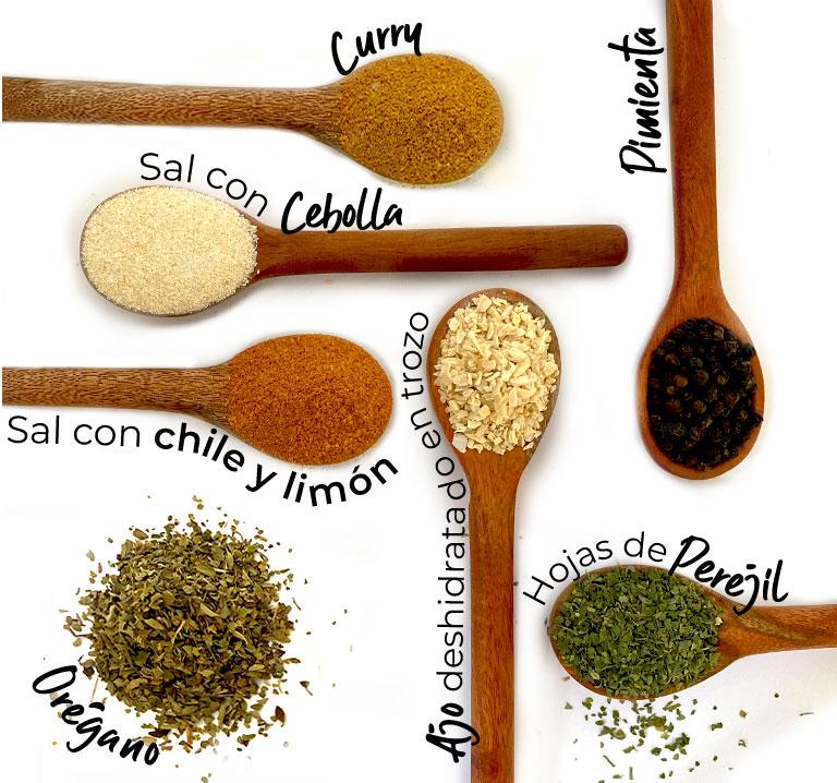 Sal con cebolla, pimienta, sal con chile y limón, curry, pimienta, sal con ajo, orégano, ajo deshidratado en trozo, hojas de perejjil