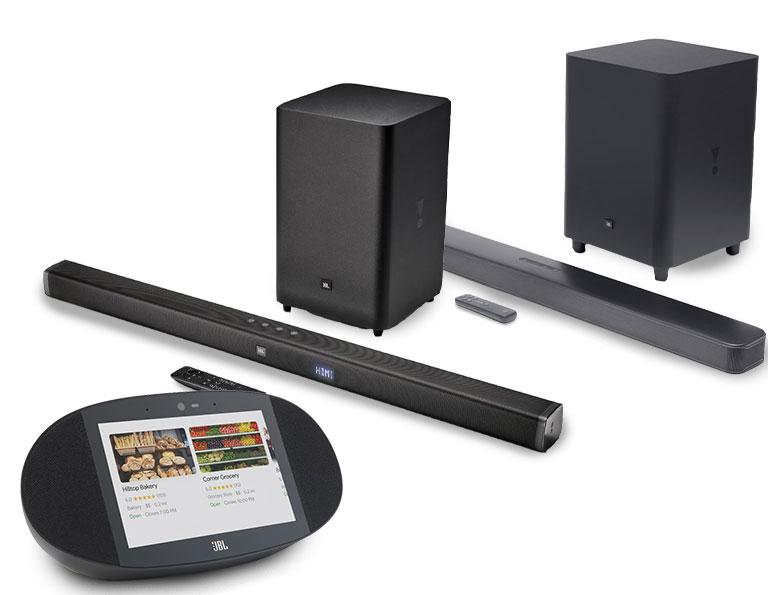 Bocinas JBL y barras de sonido