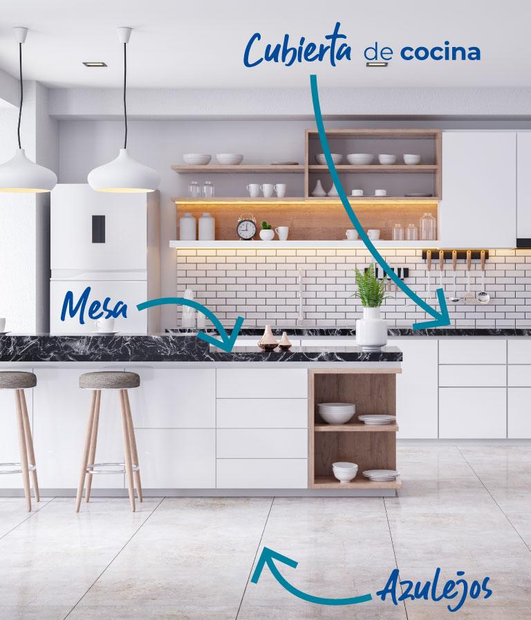 En la cocina. Mesas,  Azulejos, Cubiertas de cocinas