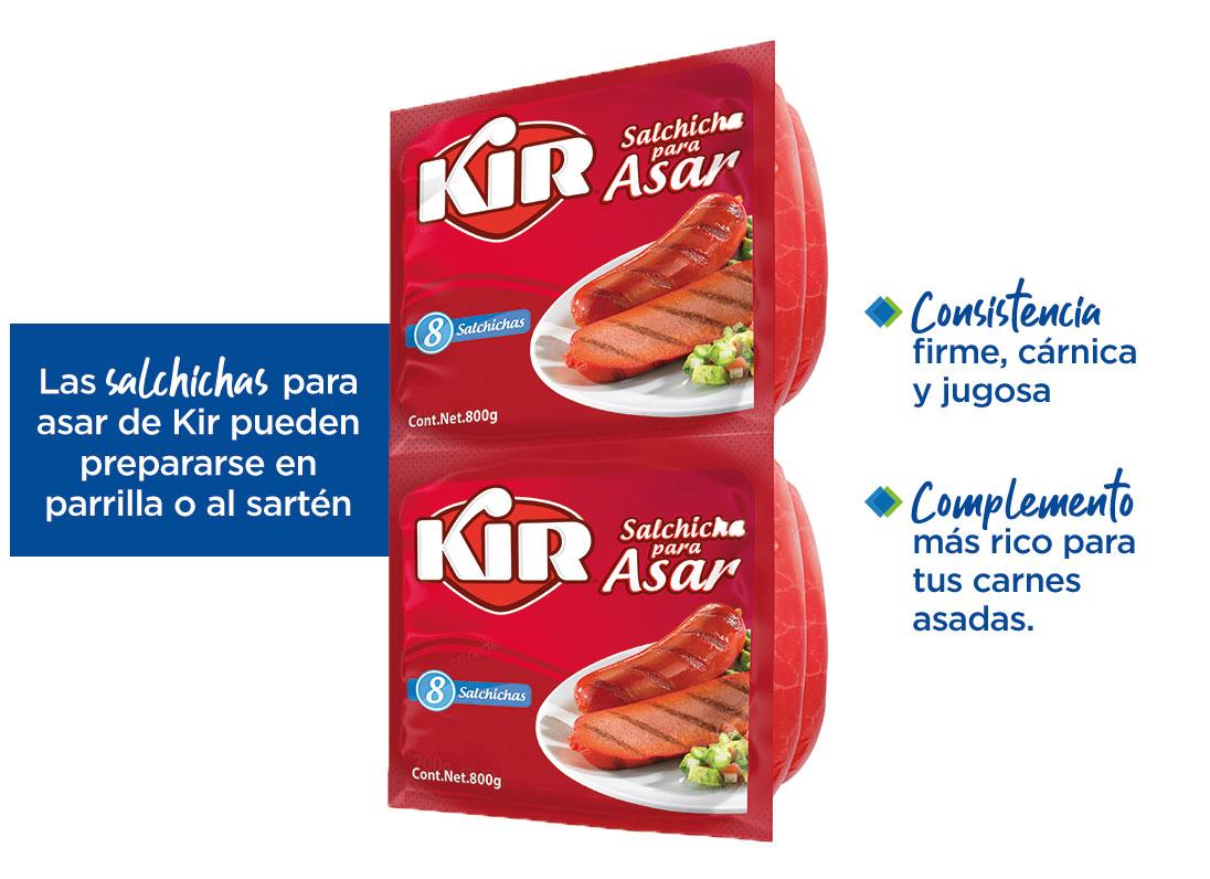 1)Consistencia firme, cárnica y jugosa y 2)complemento más rico para tus carnes asadas. Las salchichas para asar de Kir pueden prepararse en parrilla o al sartén
