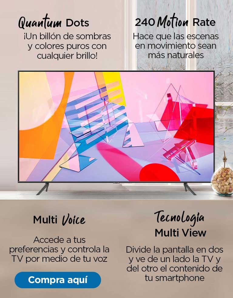 Samsung QLED QN50Q60TAFXZX  Quantum Dots ¡Un billón de sombras y colores puros con cualquier brillo!   Tecnología Multi View Divide la pantalla en dos y ve de un lado la TV y del otro el contenido de tu smartphone  240 Motion Rate Hace que las escenas en movimiento sean más naturales  Multi Voice Accede a tus preferencias y controla la TV por medio de tu voz