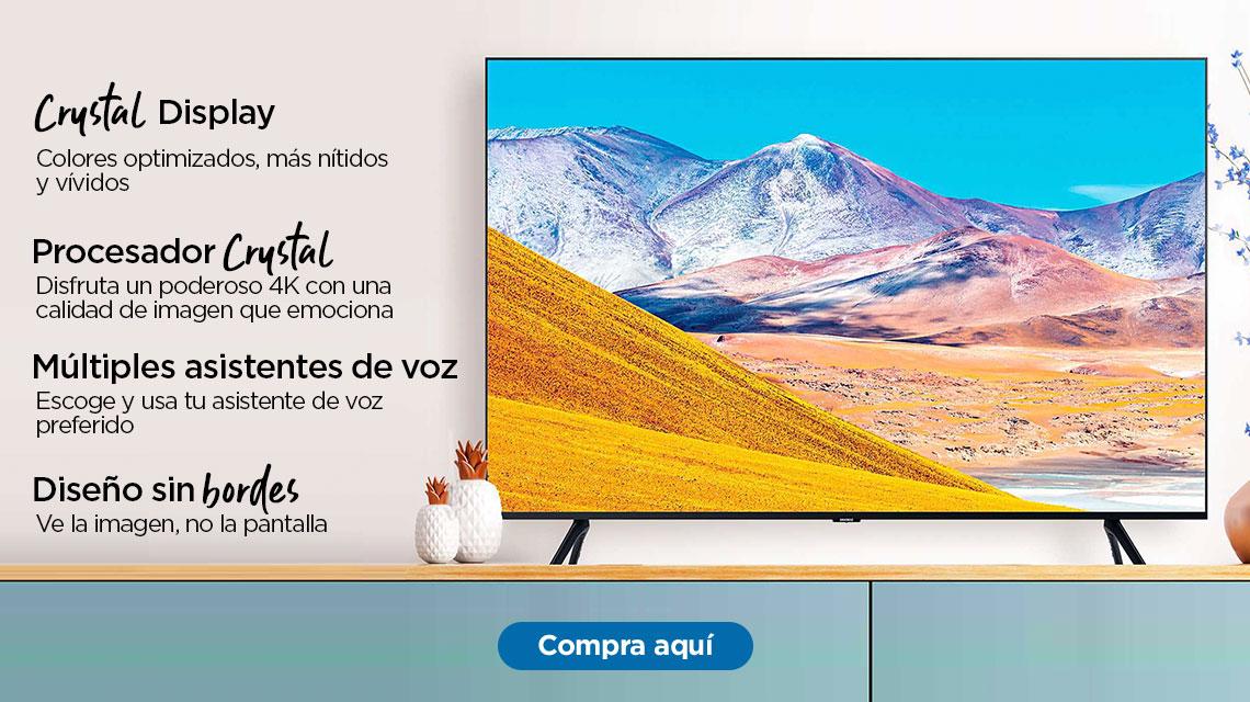 Samsung Crystal UHD TU8200  Crystal Display Colores optimizados, más nítidos y vívidos  Procesador Crystal 4K Disfruta un poderoso 4K con una calidad de imagen que emociona  Diseño sin bordes Ve la imagen, no la pantalla  Múltiples asistentes de voz Escoge y usa tu asistente de voz preferido