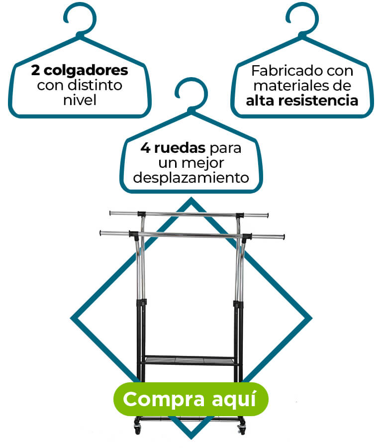 Un rack organizador de ropa, moderno y funcional