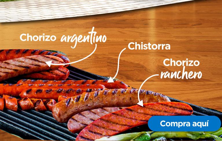 Chorizo argentino, ranchero y chistorra