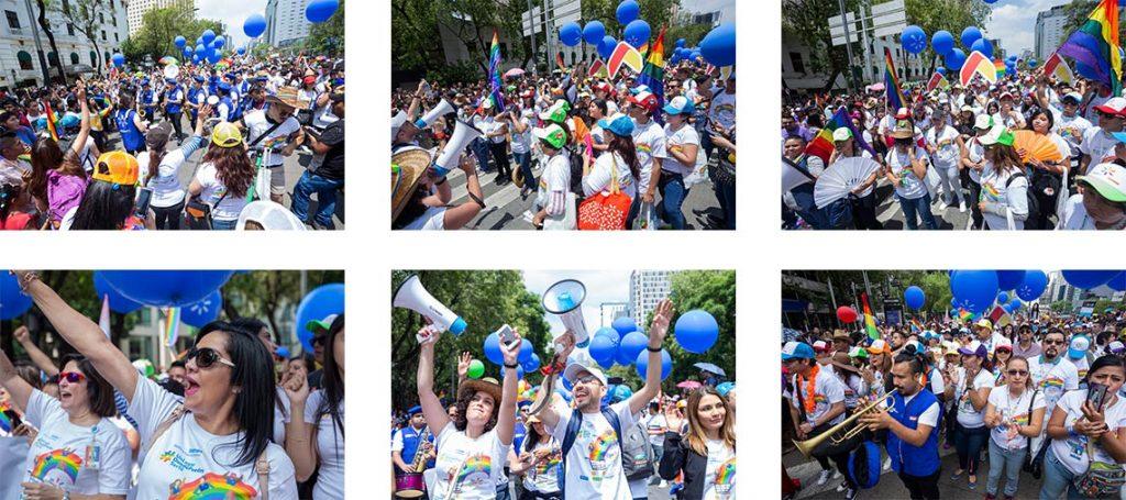 mosaico de fotos marcha diversidad