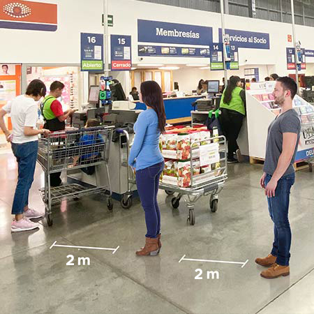 Distancia de dos metros en cajas