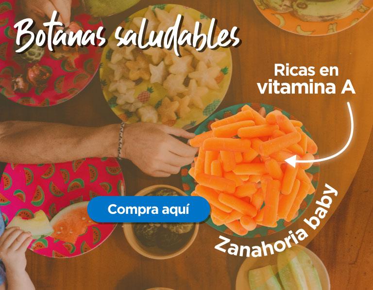 Botanas saludables, zanahoria baby, rica en vitamina A