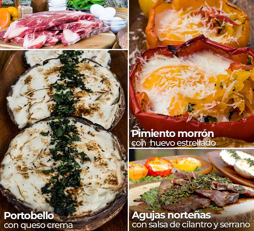 Agujas norteñas con salsa de cilantro y serrano, pimiento morrón con huevo estrellado, prtobello con queso crema
