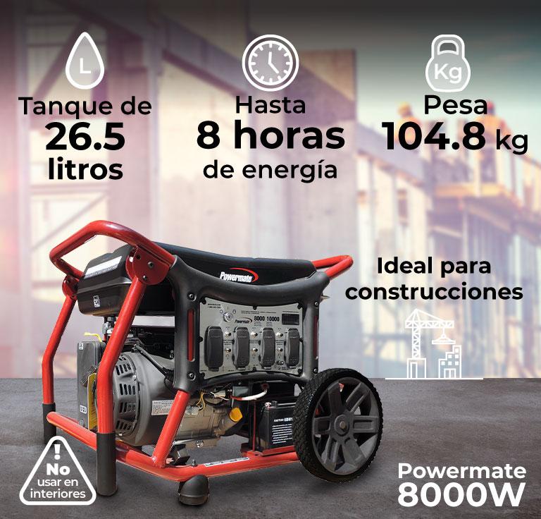 Generador de luz, Powermate 8000W, para uso industrial