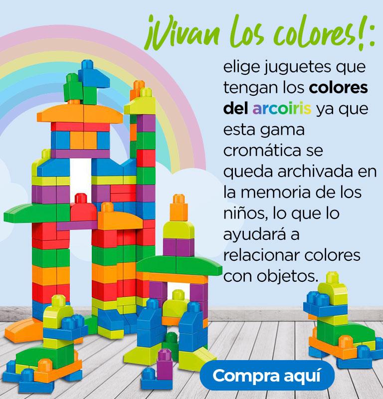 ¡Vivan los colores!: elige juguetes que tengan los colores del arcoiris ya que esta gama cromática se queda archivada en la memoria de los niños, lo que lo ayudará a relacionar colores con objetos.