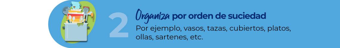 Organiza por orden de suciedad. Por ejemplo, vasos, tazas, cubiertos, platos, ollas, sartenes, etc.
