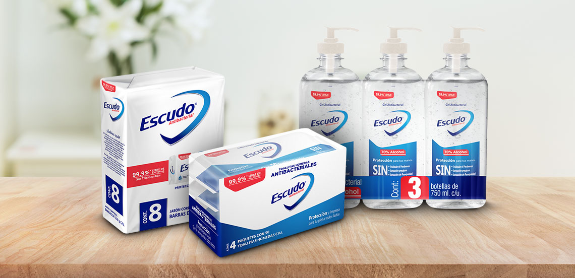 Escudo antibacterial. Jabón, toallitas y gel