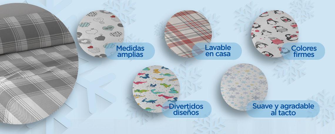 -Medidas amplias -Suave y agradable al tacto -Colores firmes -Lavable en casa -Divertidos diseños