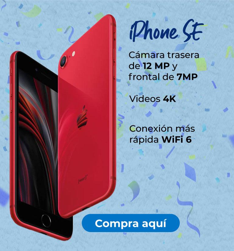 iPhone SE  Cámara trasera de 12 MP y frontal de 7MP