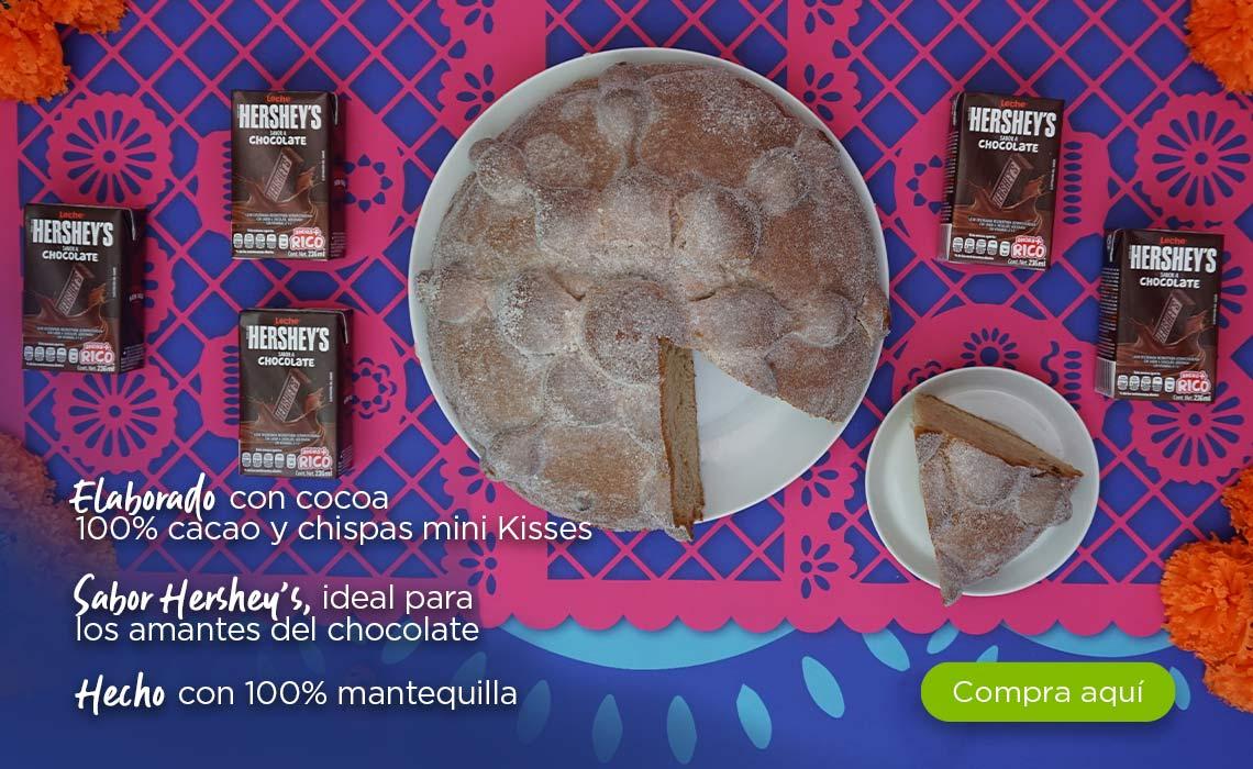 Elaborado con cocoa 100% cacao y chispas mini Kisses Sabor Hershey's, ideal para los amantes del chocolate Hecho con 100% mantequilla