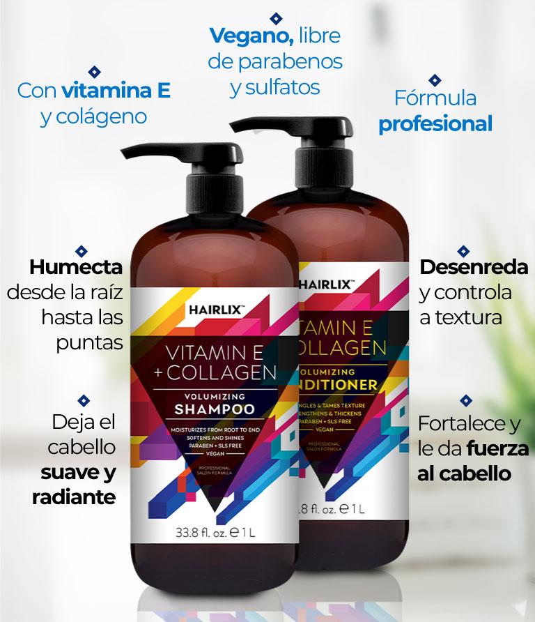 Hairlix. Vegano, libre de parabenos y sulfatos. Con vitamina E y colágeno