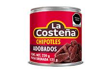 Chiles chipotles adobados, 6 pzs de 220 g. La Costeña