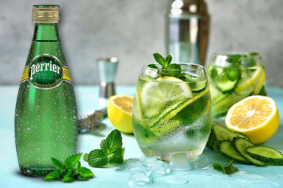 3 gins con agua mineral premium