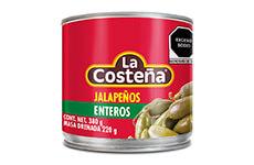 Chiles jalapeños en escabeche, 3 pzs de 380 g. La Costeña.