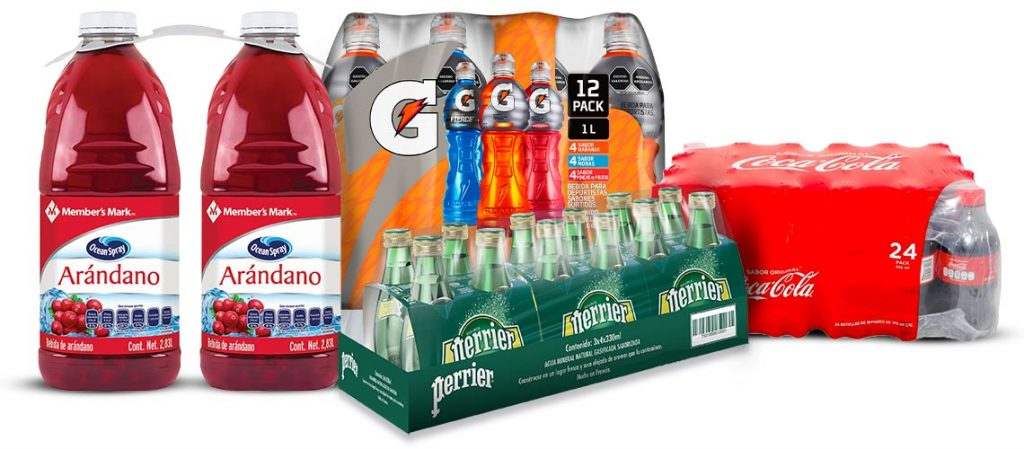 jugos Member's Mark, gatorade, cocas, perrier