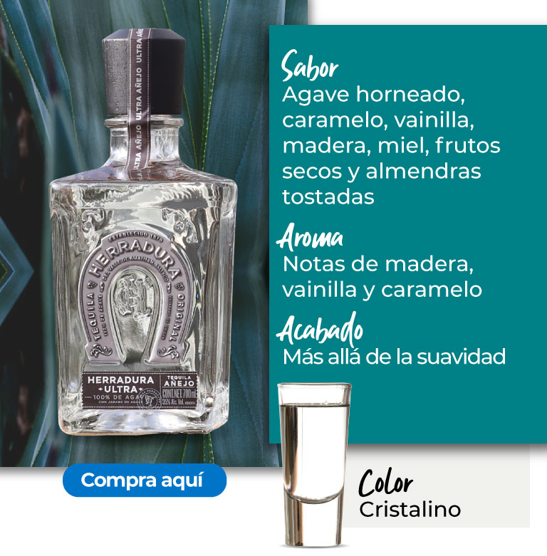 Tequila Ultra Añejo. Aroma Notas de madera, vainilla y caramelo