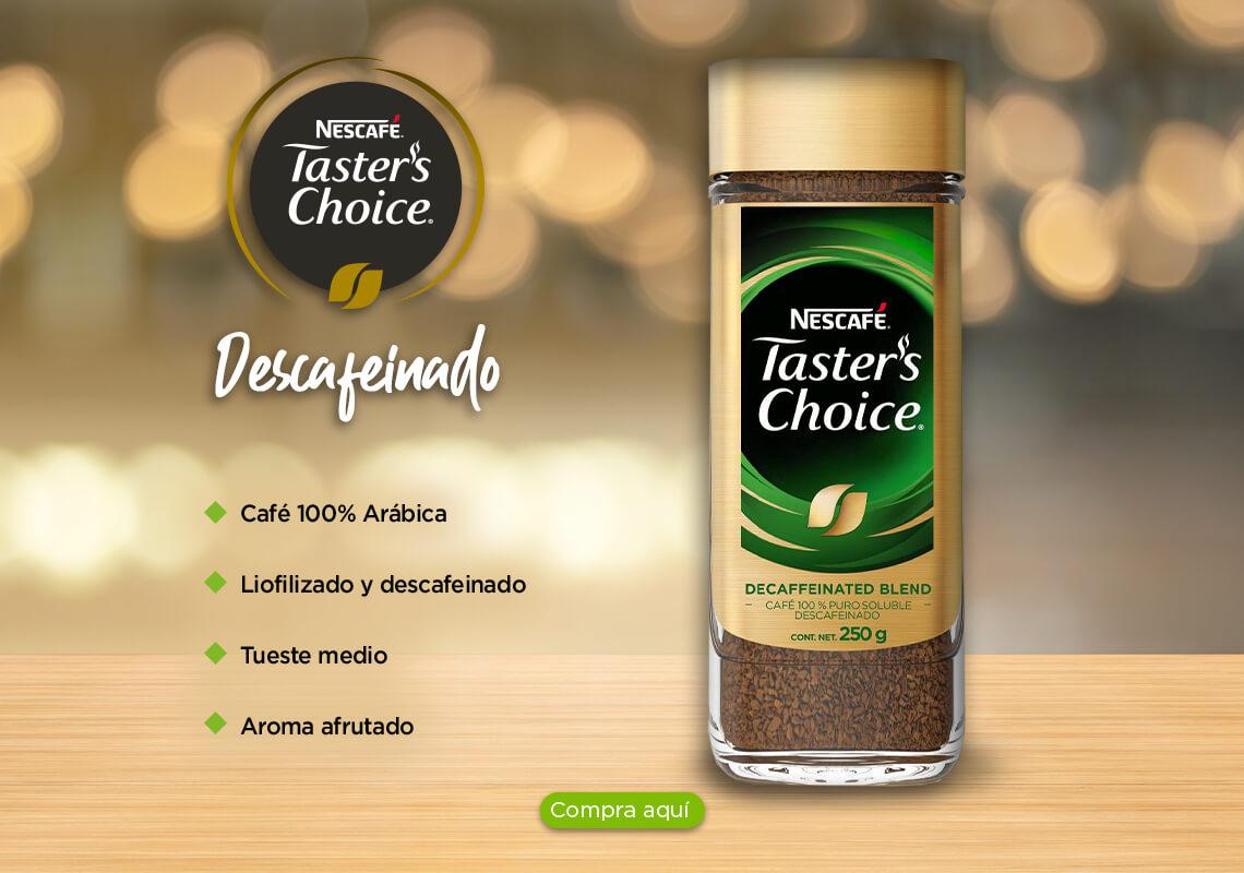 Café 100% Arábica, Liofilizado y descafeinado,Tueste medio y Aroma afrutado