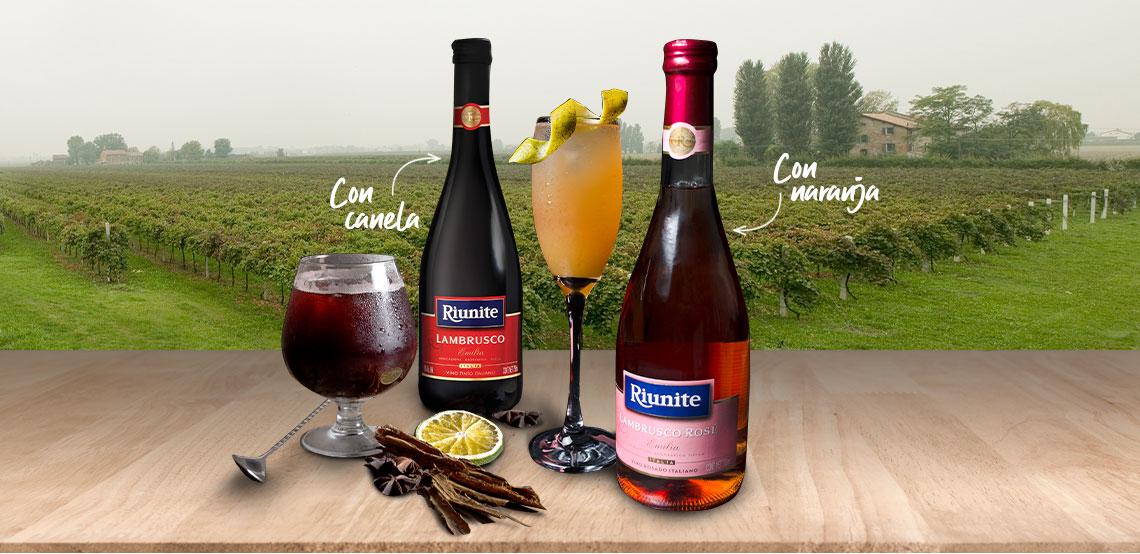 Riunite lLambrusco combina perfecto con el garnish que desees (naranja, frutos rojos, canela, etc).