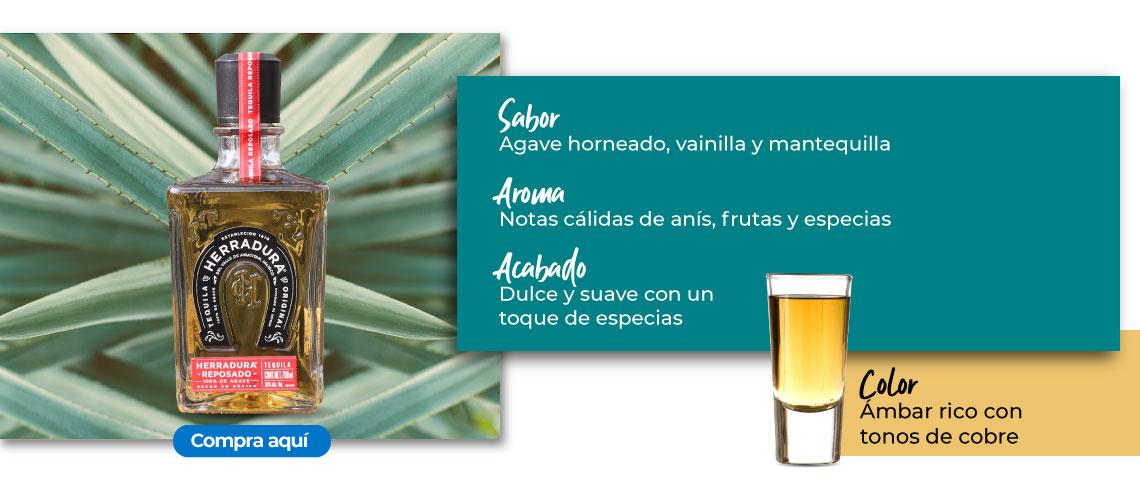 Tequila Reposado. Aroma Notas cálidas de anís, frutas y especias