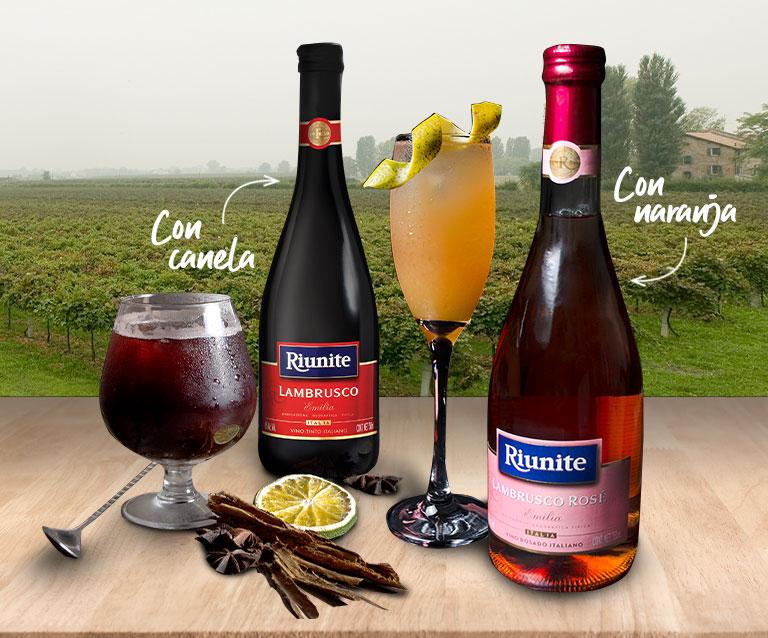 Riunite Lambrusco combina perfecto con el garnish que desees (naranja, frutos rojos, canela, etc).