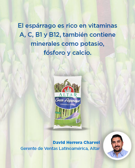 El espárrago es rico en vitaminas A, C, B1 y B12, también contiene minerales como potasio, fósforo y calcio.