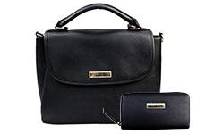 Bolsa satchel, con cartera y correa, Perry Ellis