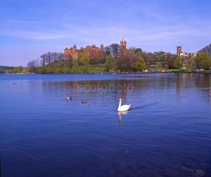 A Peaceful Spring View Across Linlithgow Loch Towards Linlithgow Palace Midlothian Scotland