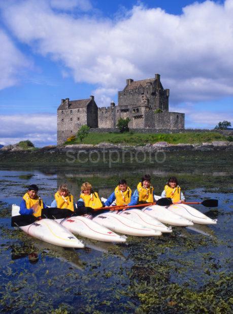 Canoes At Eilean Donan Castle Loch Duich