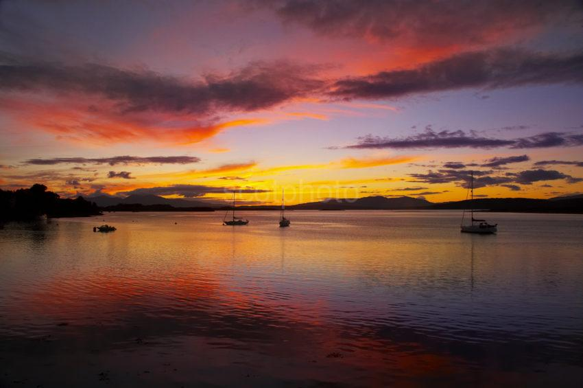 Sunset Aftergolow Over Mull From Connel