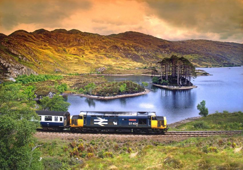 Class 37 Ben Cruachan Passes Loch Eilt Mallaig Line