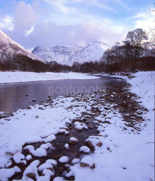 Winter View From The Shore Of The River Coe West Highlands